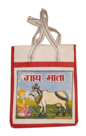 Bollywood Bag Indiase katoenen shopper - Heilige Koe - 35 x 30 x cms