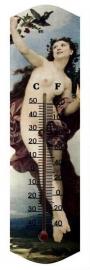 Houten thermometer met prent - blote dame 1