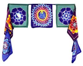 7 vlaggen Bloemen van het Leven batik doeken uit Bali - 32x23cm