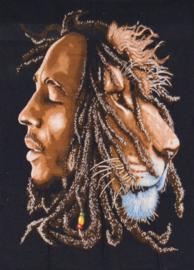 Een persoons bedsprei, wandkleed Bob Marley met Leeuw - 120 x 220 cm