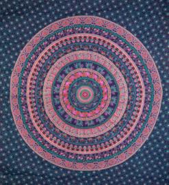 Bedsprei, wandkleed, grand foulard Olifant Mandala Violet - 210 x 220 cm