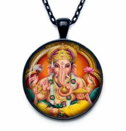 Glazen hanger met ketting Ganesha dessin 7