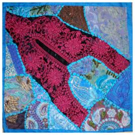 Indiase kussenhoes lapjesdessin turquoise dessin 2 - 40 x 40 cm