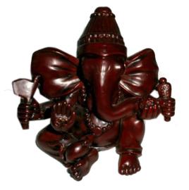 Roodbruine resin Ganesha 8 cm hoog  dessin 1