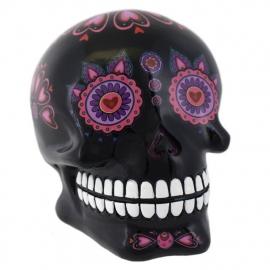Spaarpot Dia de Muertos Dag van de Doden zwart- 10 x 8 x 10 cm