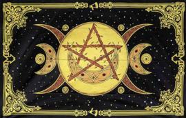 Katoenen bedsprei drievoudige maan met pentagram geel 150cm x 215cm
