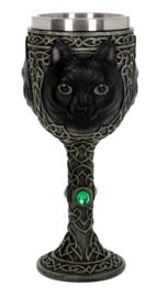 Kelk Feline Watcher Zwarte Kat Gothic Keltisch Wicca - 19.3 cm hoog