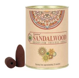 Goloka Sandalwood Backflow Wierookkegels - blik 9.5 cm hoog