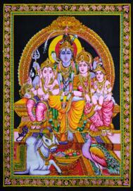 Indiase Hindu god wandkleed Shiva Parvati Ganesha Kartakai Nandi 40 x 55 cm