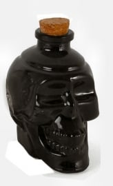 Glass skull bottle black 11,5 cm tall