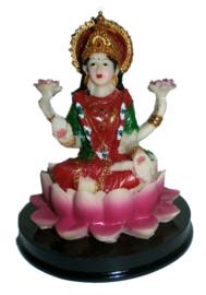 Lakshmi beeld polystone gekleurd 12 cm hoog
