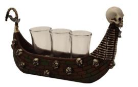 Doodskop schip met 3 shot glazen - Magere Hein Charon Viking Gothic Horror - 26 cm lang