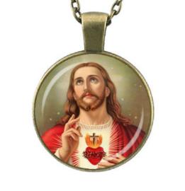 Glazen hanger met ketting Christus 6
