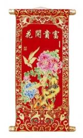 Chinese muurscroll rood en goud - Vogels & Bloemen - 80 x 34 cm