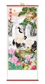 Chinese scroll kraanvogels en waterval