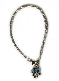 Zilveren leren Kabbalah armband met hamsa roterend oog