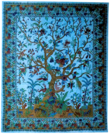 Bedsprei Levensboom / Tree of Life  turquoise 200 x 220 cm (2 pers) 2