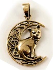 Ketting brons Kat in Keltische Maan - dessin Lisa Parker