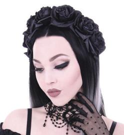 Restyle Gothic haarband met zwarte rozen