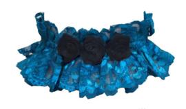 Luxe Gothic choker - turquoise kant mete zwarte rozen - Darkstar Jordash