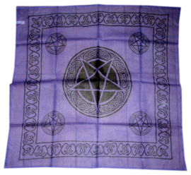 Bandana / altaarkleed / tafelkleed pentagram paars - 65 x 65 cm
