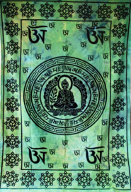 Bedsprei boeddha groen turquoise geel - 140 x 215