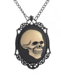 Gothic horror steampunk camee ketting doodskop 2