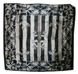 Indiase zijden sjaal kikkers z.w.  - 1 x 1 meter