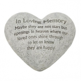 Hartvormige grafsteen in loving memory - 15 x 15 cm