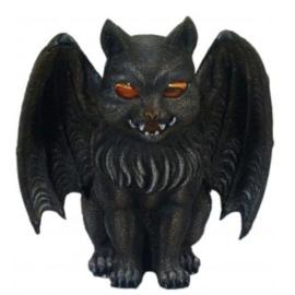 Vampier kat met vleermuisvleugels - theelichthouder  - 18 cm hoog