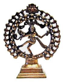 Shiva Nataraj dansend in ring van vuur koperkleurig beeld 33 cm hoog