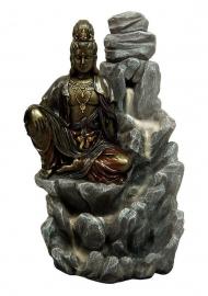 Quan Yin op berg - *backflow* wierookkegel brander - 19 cm hoog