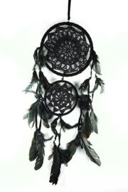 Droomvanger dubbel zwart gehaakt 16 en 11 cm doorsnee