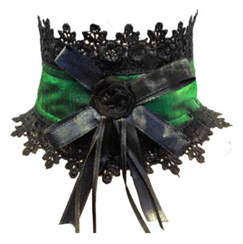 Luxe Gothic choker - zwarte kant met groene lint - Darkstar Jordash