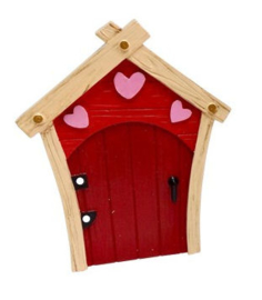 Fee deurtje rood met roze hartjes - 11 cm hoog