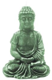 Zittende boeddha kaars groen - 10.5 cm hoog
