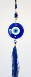 Gelukshanger grote glaze boze oog blauw - 5 cm doorsnee 31 cm lang