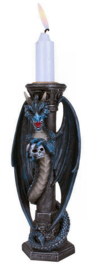 Midnight Keeper - Kandelaar blauwe draak met doodskop - 17 cm hoog