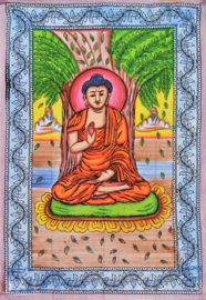 Een persoons bedsprei, wandkleed Boeddha gekleurd - 120 x 220 cm