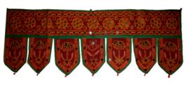 Toran donker rood olifanten met spiegeltjes 7 bladen