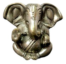 Ganesha met grote oren beeld verzilverde brons 7 cm hoog