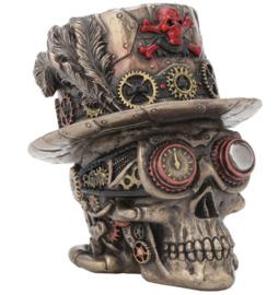 Clockwork Baron Steampunk bronzen doodskop met hoge hoed Voodoo Baron Samedi 11 cm hoog