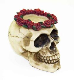 Doodskop met rozen - Dag van de Dood - theelichthouder - 6.5 X 10 X 7.5 cm