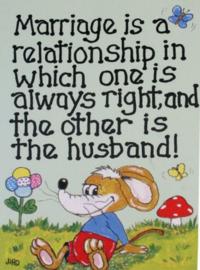 Grappige wenskaart huwelijk - Marriage is a Relationship - 13 x 18 cm