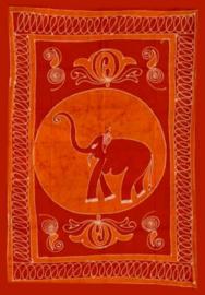 Een persoons bedsprei, wandkleed, gordijn Olifant rood oranje batik - 120 x 220 cm