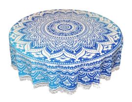 Ronde mandala doek bedsprei wandkleed tafelkleed vloerkleed blauw wit - 180 cm doorsnee
