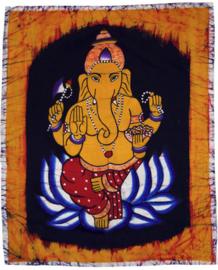 Batik wandkleed van Nepal - Ganesha - 45 x 55 cm