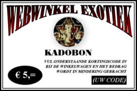 Kadobon € 5,=