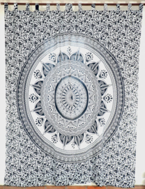 Gordijnen mandala wit grijs - 230 x 100 cm