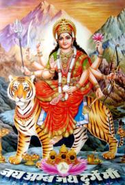 Briefkaart / Hindu wenskaart Durga op tijger met bergen
